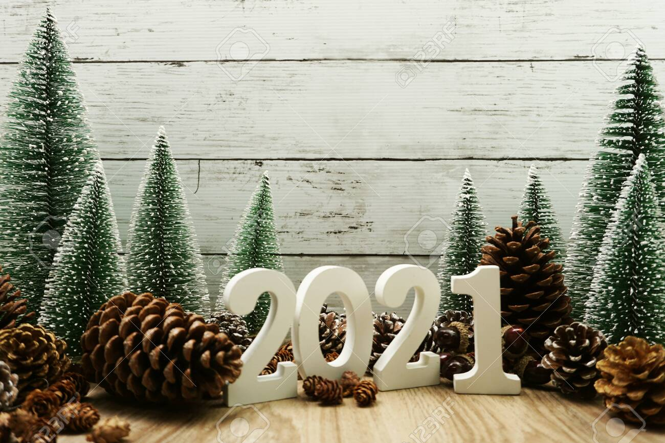 Christmas Tree Recolection 2021 Happy New Year 2021 Festive Background With Christmas Tree And Stock Photo Picture And Royalty Free Image Image 141761088