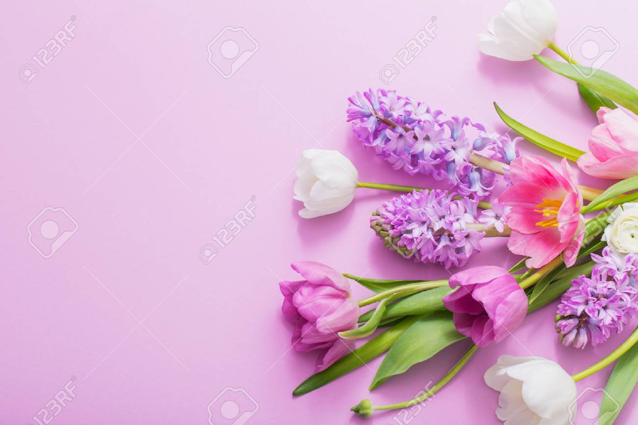 Beautiful Flowers On Paper Background Stock Photo Picture And