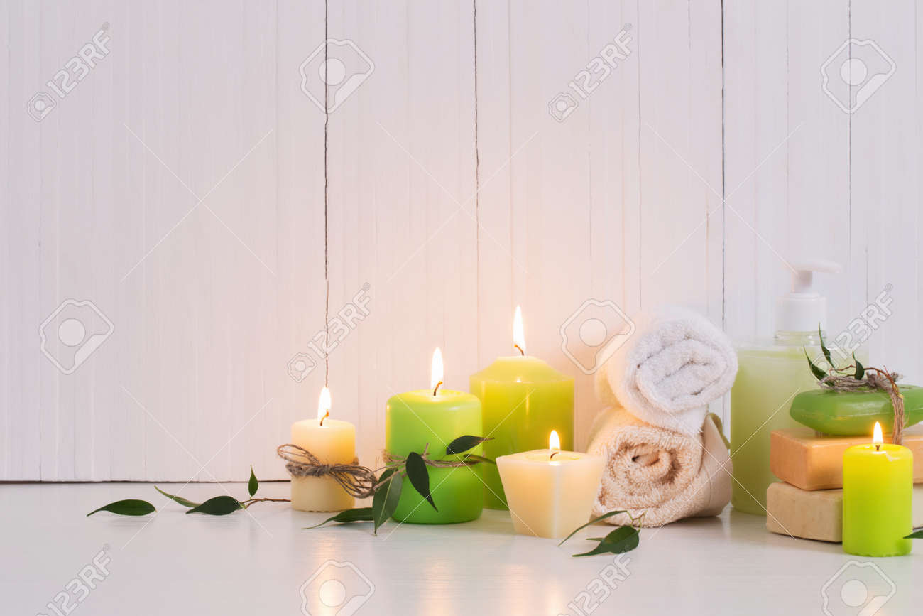 Beautiful composition of spa treatment on white background - 120557128