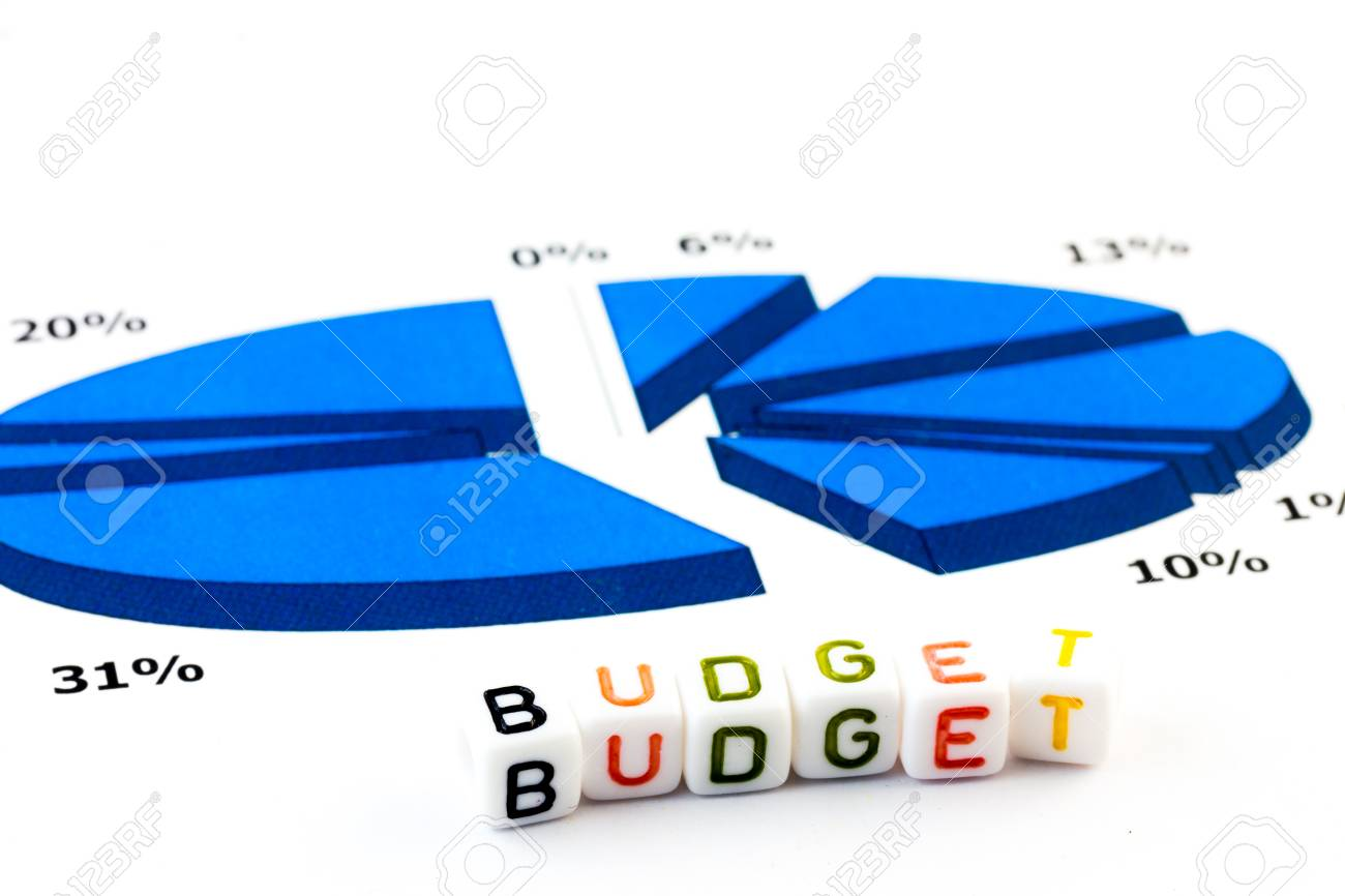 budget concept graphs and written word budget stock photo picture