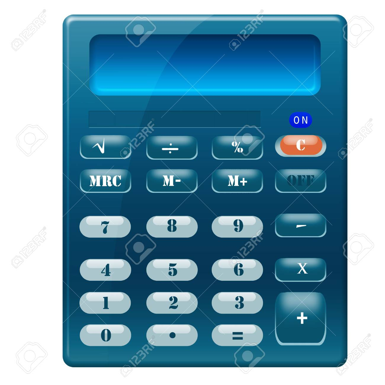 Blue glossy calculator Stock Photo - 6595299