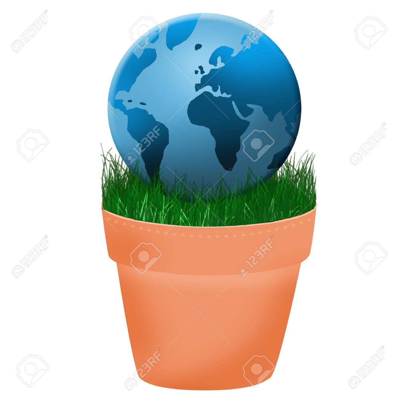 globe placed in the flower pot Stock Photo - 6929024
