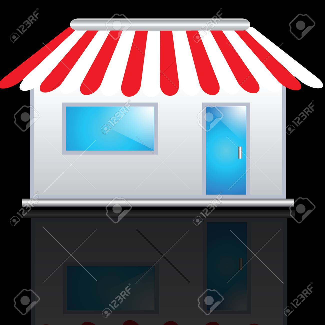 Cute shop icon with red awnings Stock Photo - 8056401