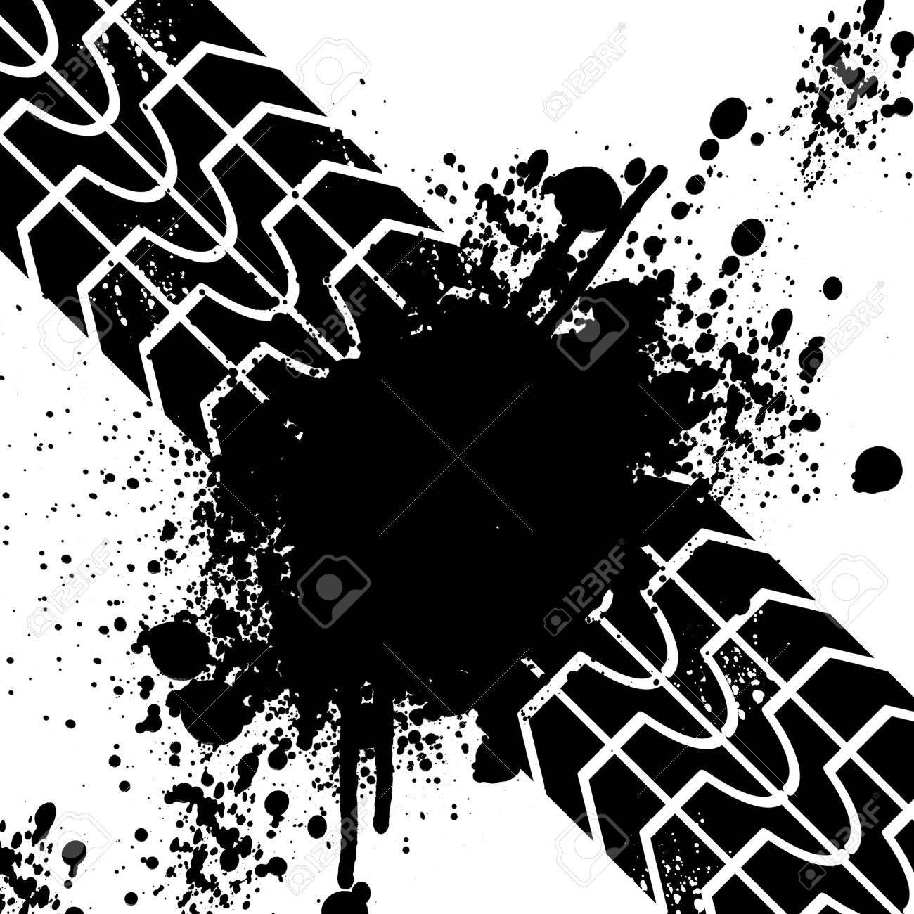 Fantastic Noir Bannière Trace De Pneu Banque D'Images Et Photos Libres De  VS67