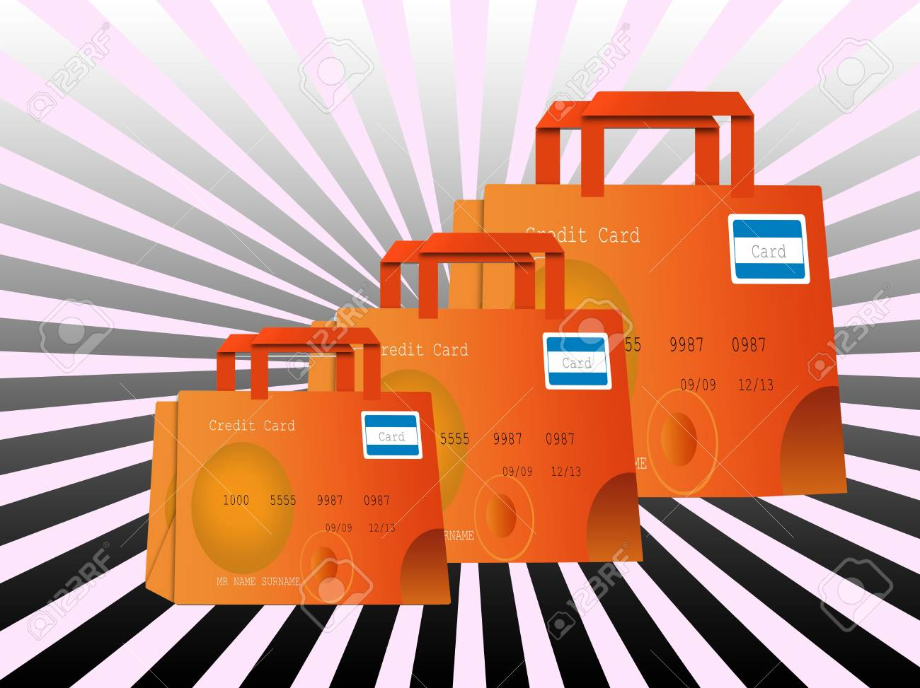 colorful shopping bags made of credit cards Stock Photo - 14885421