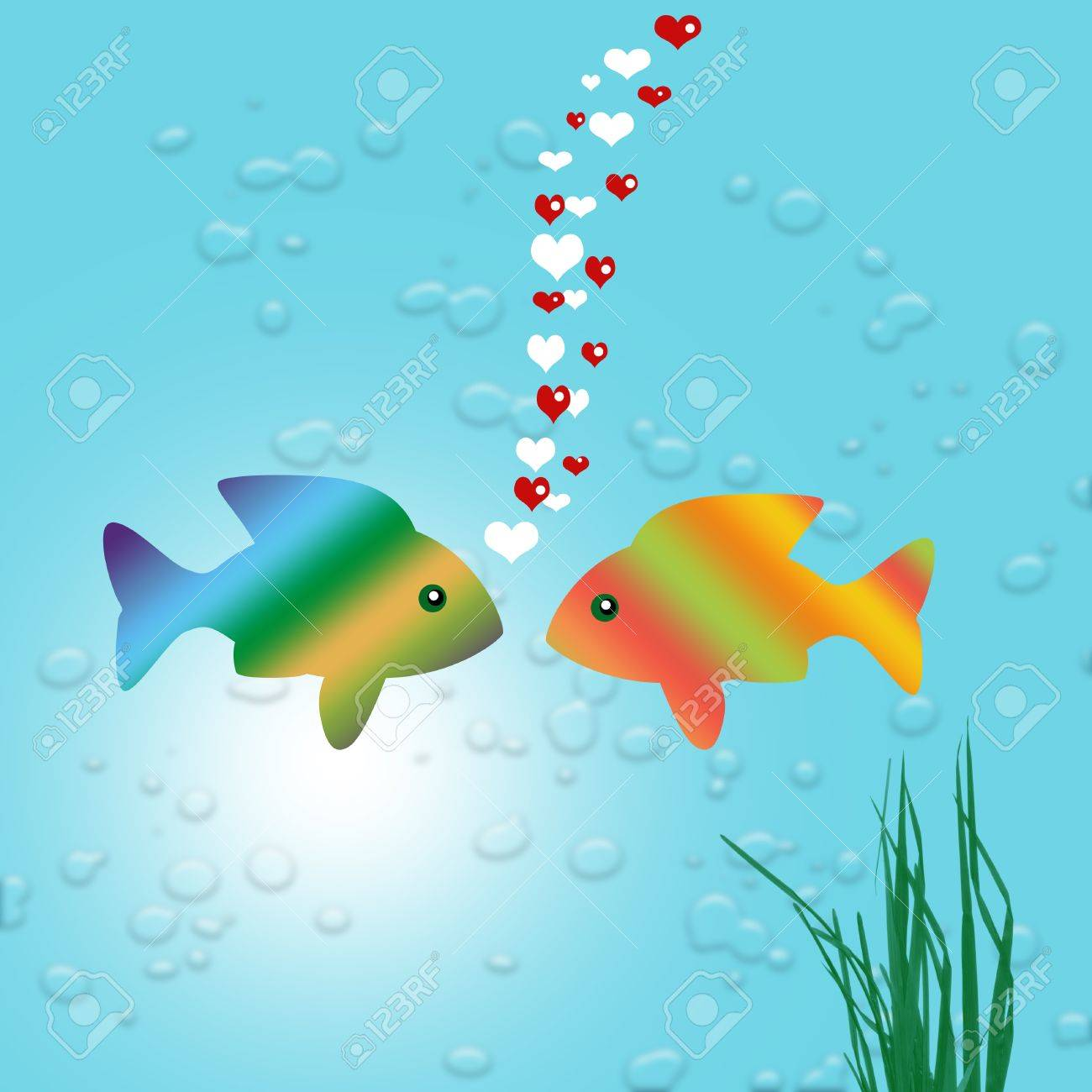 gold fish in love Stock Photo - 17975054