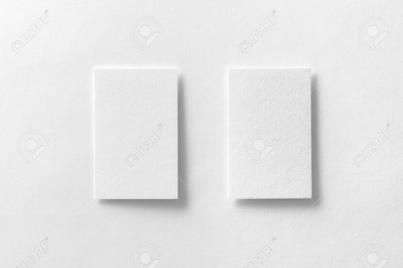 Mockup Of Two Vertical Business Cards At White Textured Paper ...