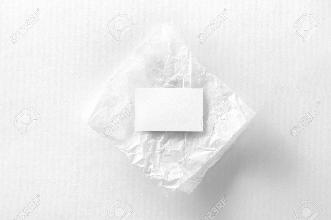 Mockup Of Business Card On Creasy Tracing Paper At White Textured ...