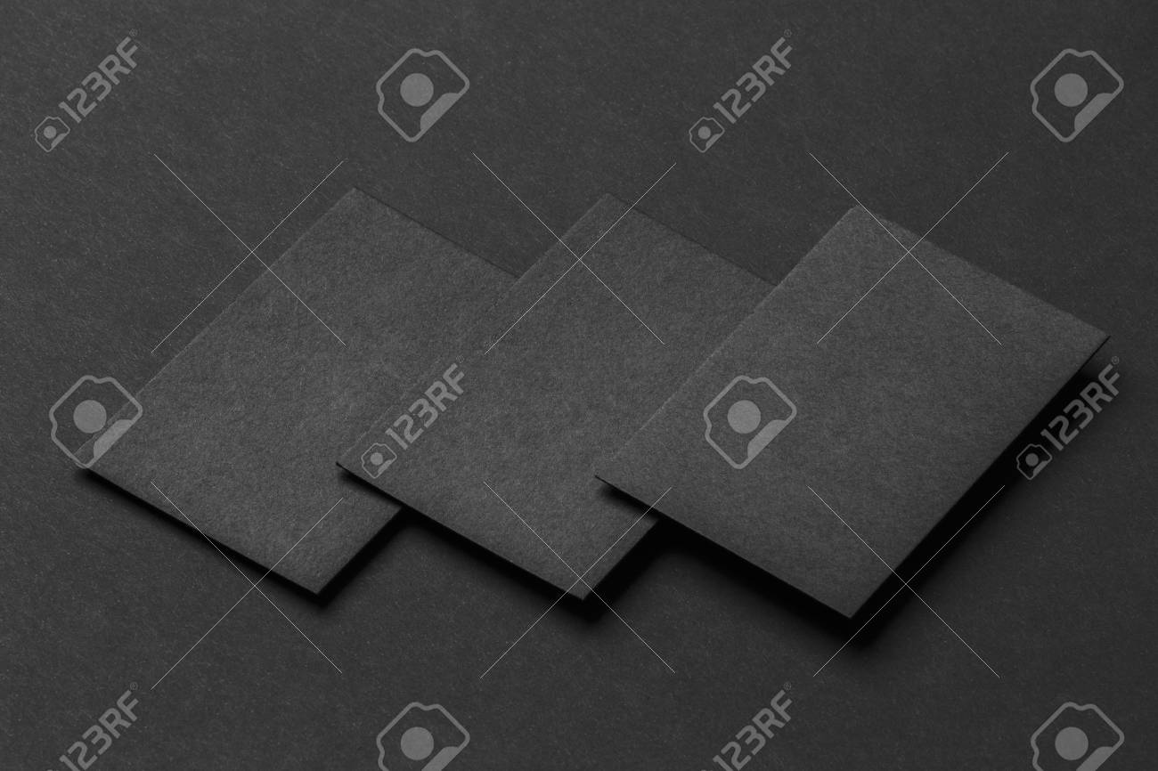 Mockup Of Three Horizontal Business Cards At Black Textured Paper ...