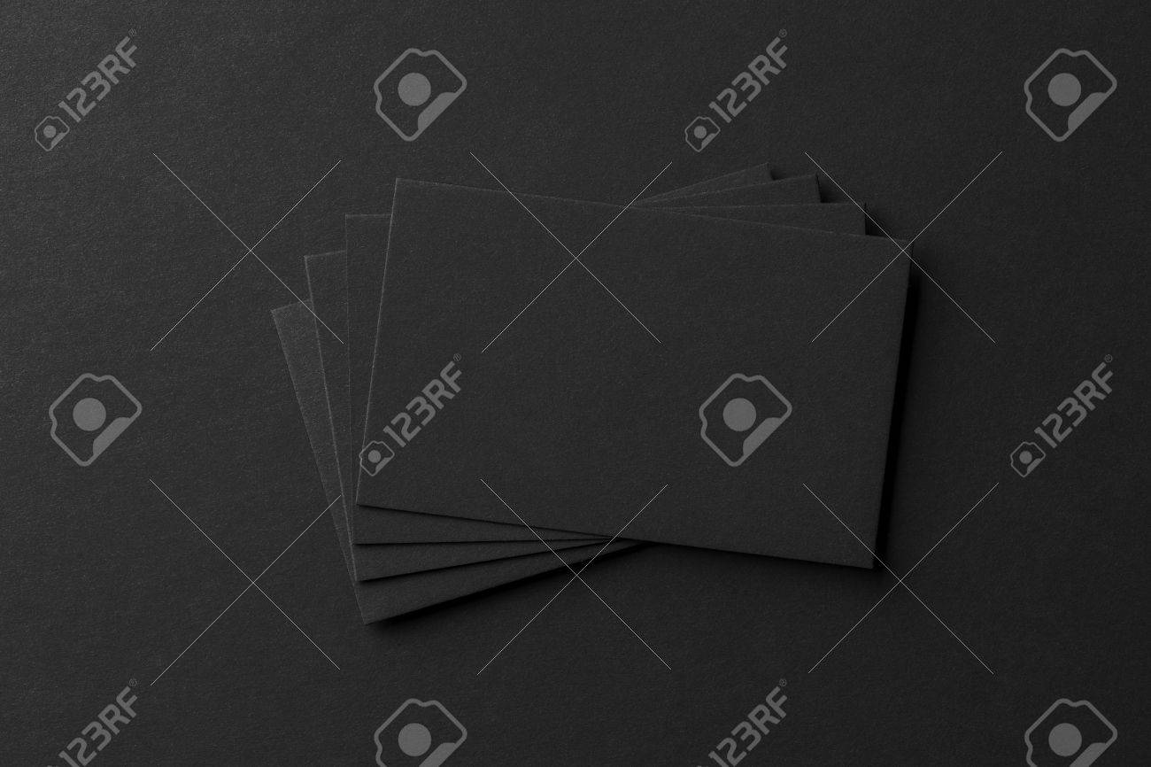 Mockup Of Business Cards Fan Stack At Black Textured Paper ...