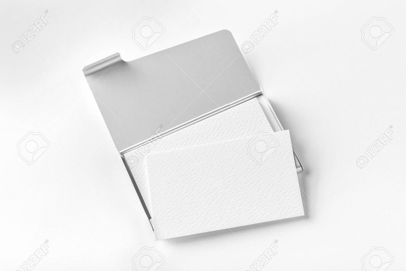 Mock Up Of Opened Metal Card Holder With Business Cards Stack