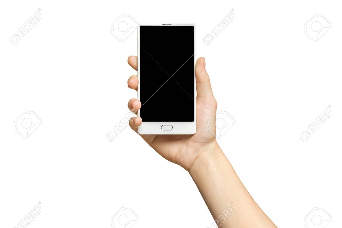 Mockup Of Female Hand Holding Frameless Cell Phone With Black