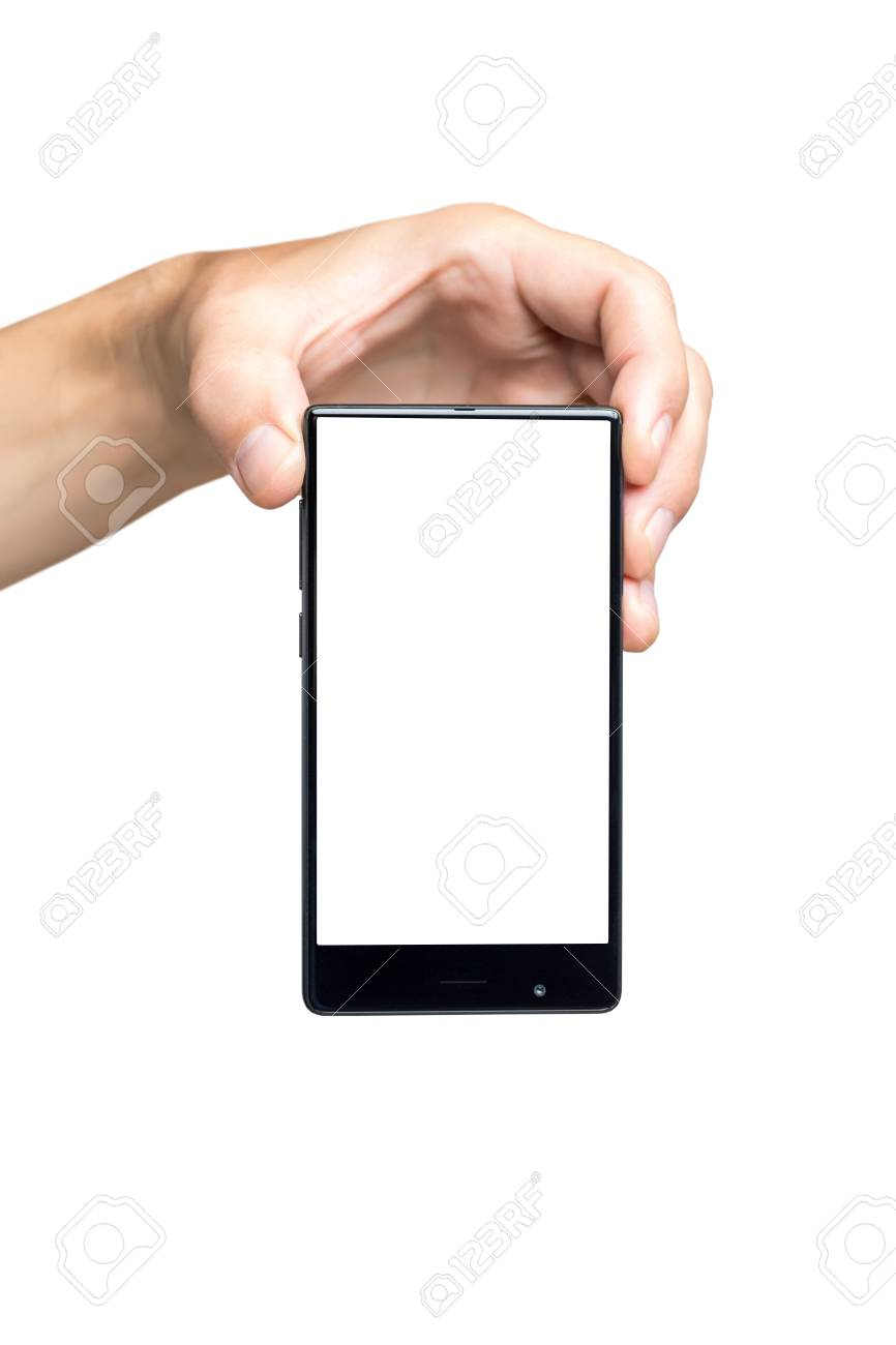 vertical mockup of male hand holding black frameless cell phone