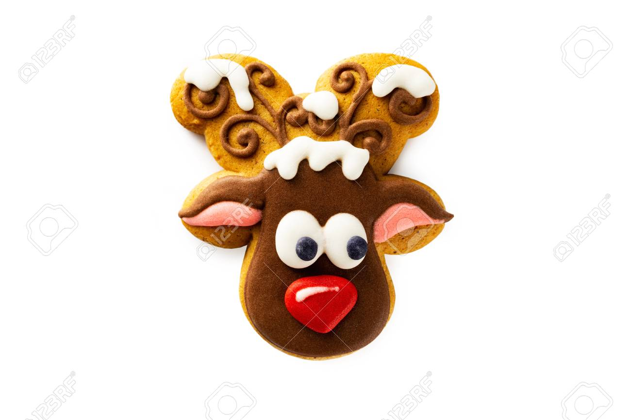 Closeup Funny Christmas Gingerbread Deer Cookie Isolated At White Stock Photo Picture And Royalty Free Image Image 115730949