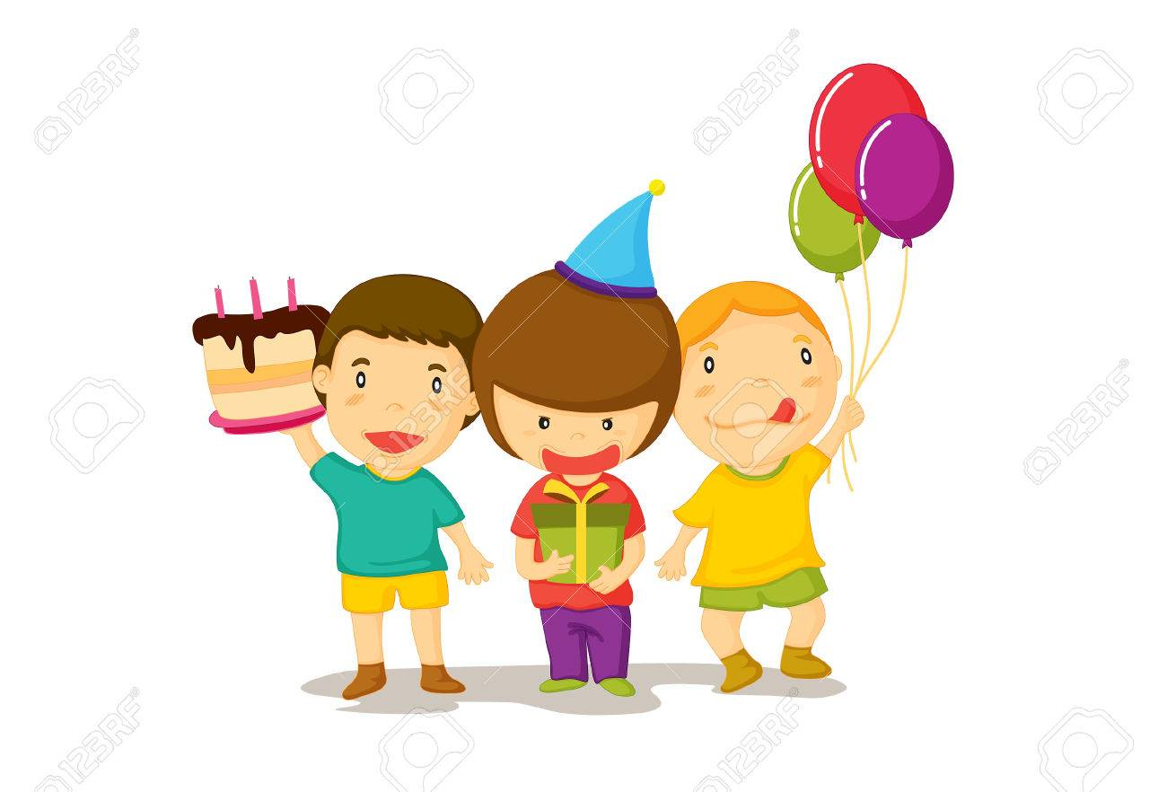 Illustration of three young boys celebrate a birthday with cake and balloons. Stock Vector - 5630507