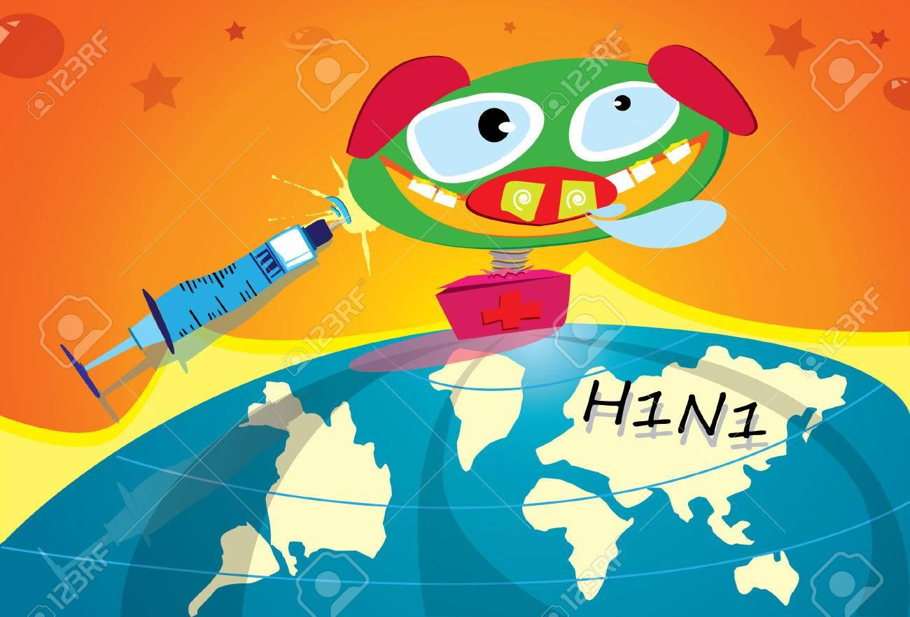 Illustration of  swine flu vaccine virus Stock Vector - 5630510