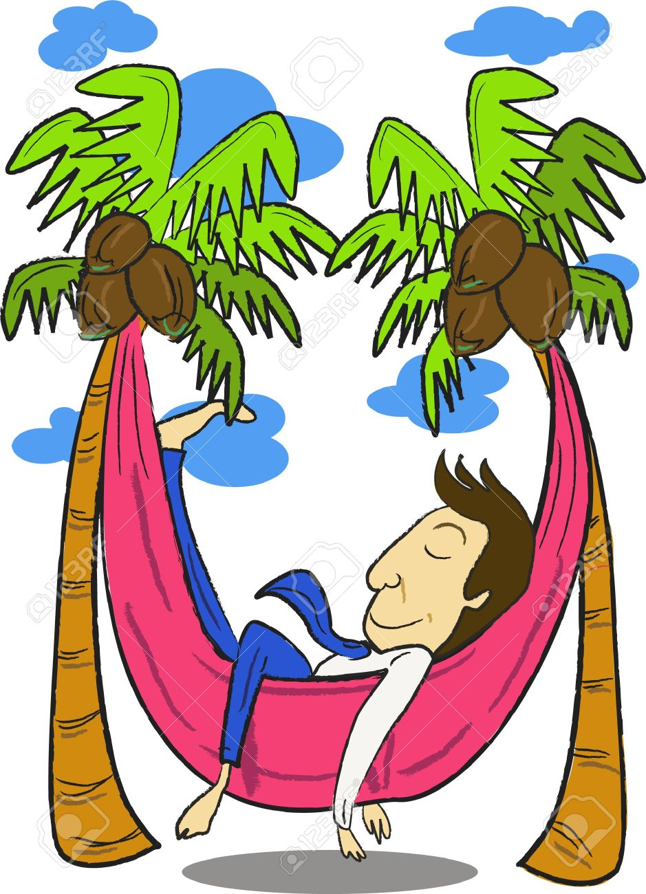 An Image Of A Man Sleeping In Hammock That Is Strung Between Two Palm Trees