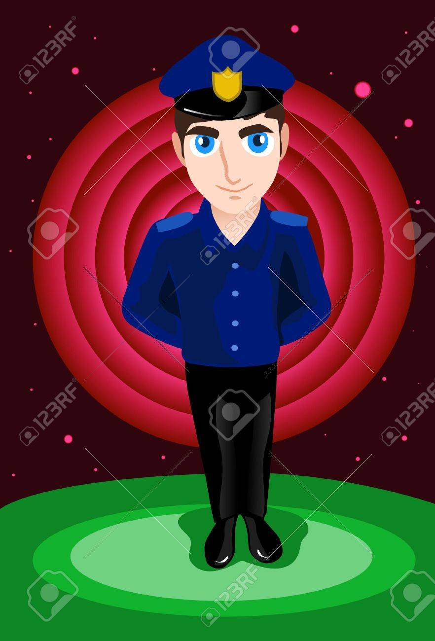 An image of a policeman standing with his hands behind his back Stock Photo - 6339634