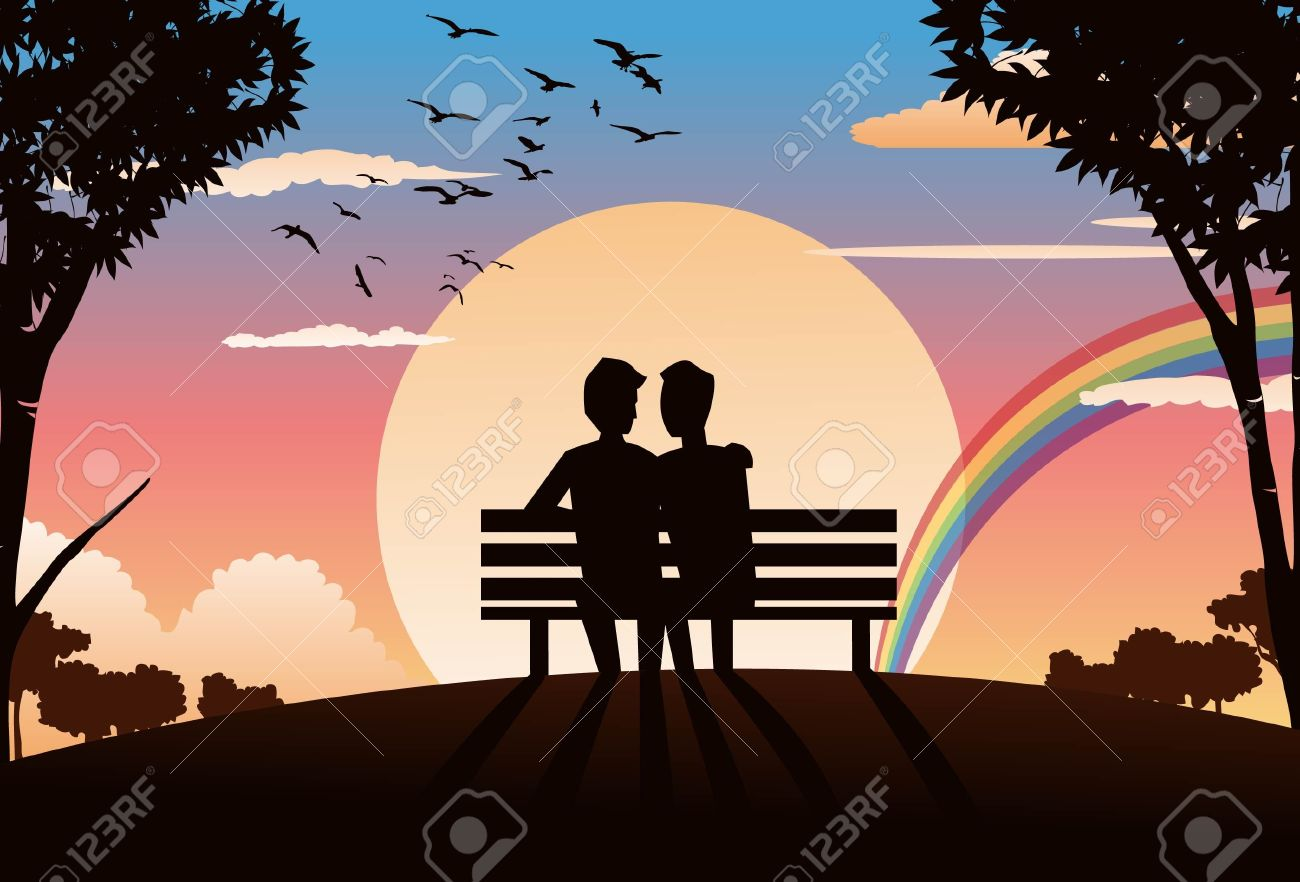 An Image Of Two Lovers Sitting On A Park Bench And Watching Stock