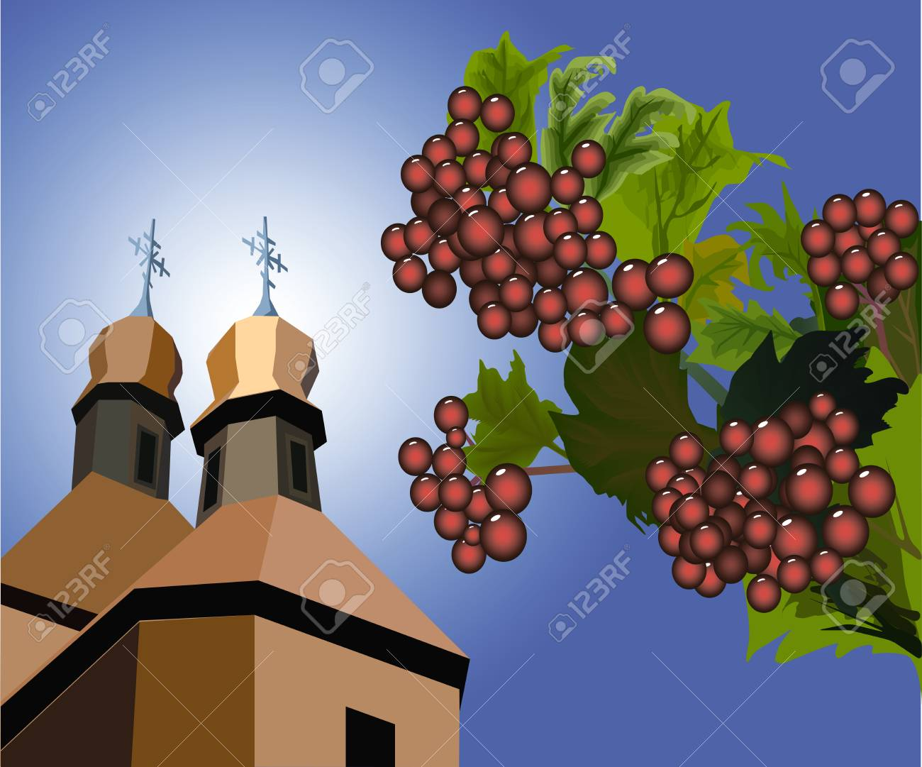 Red berries of a guelder-rose in green leaves against wooden orthodox church Stock Vector - 7097670