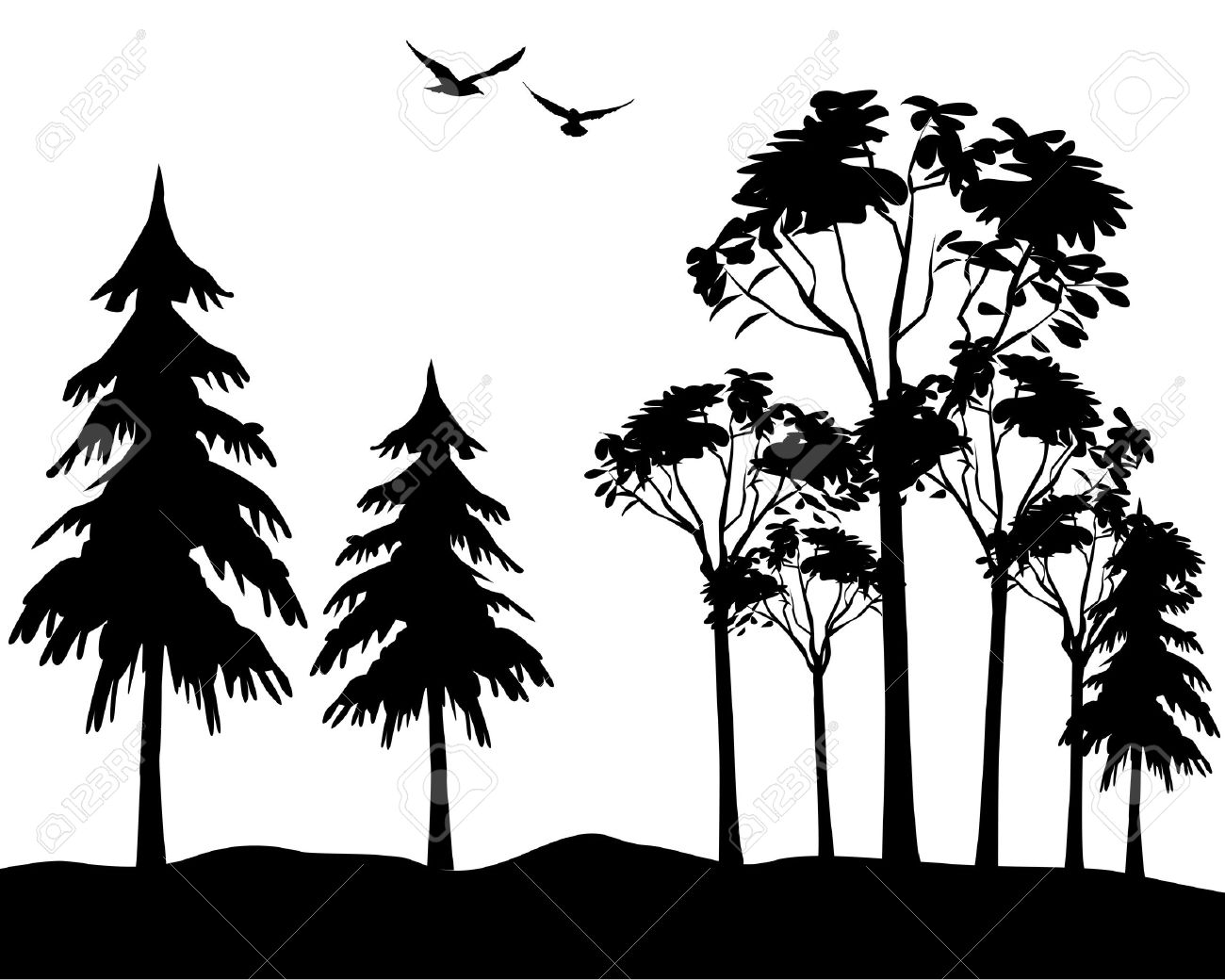 Black Silhouette Of Wood On A White Background Royalty Free Cliparts Vectors And Stock Illustration Image 7590698