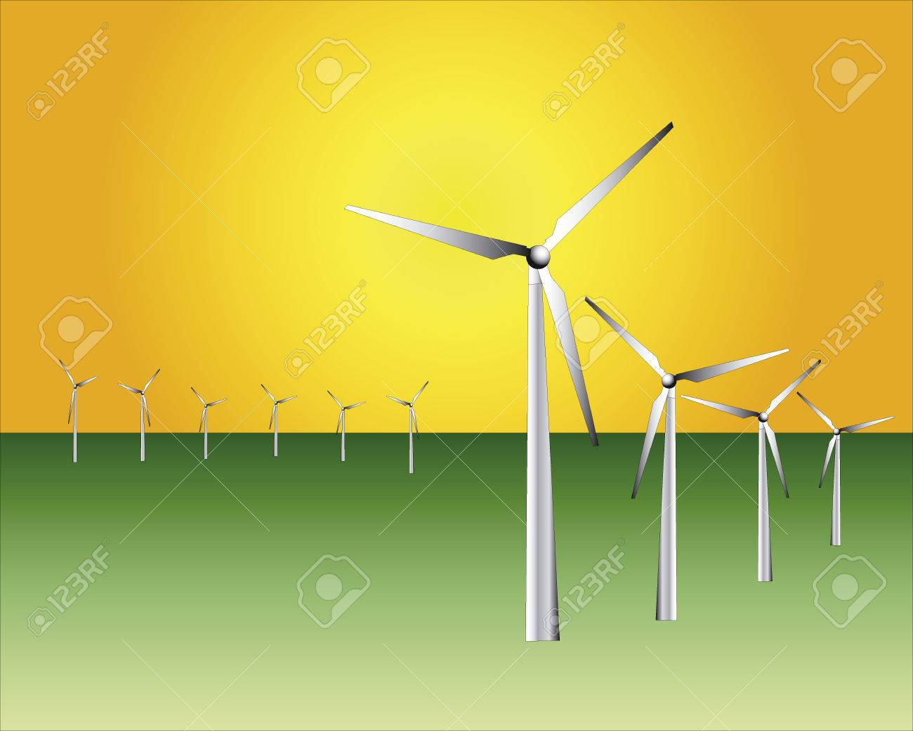 Wind power stations against the orange sky Stock Vector - 8201174