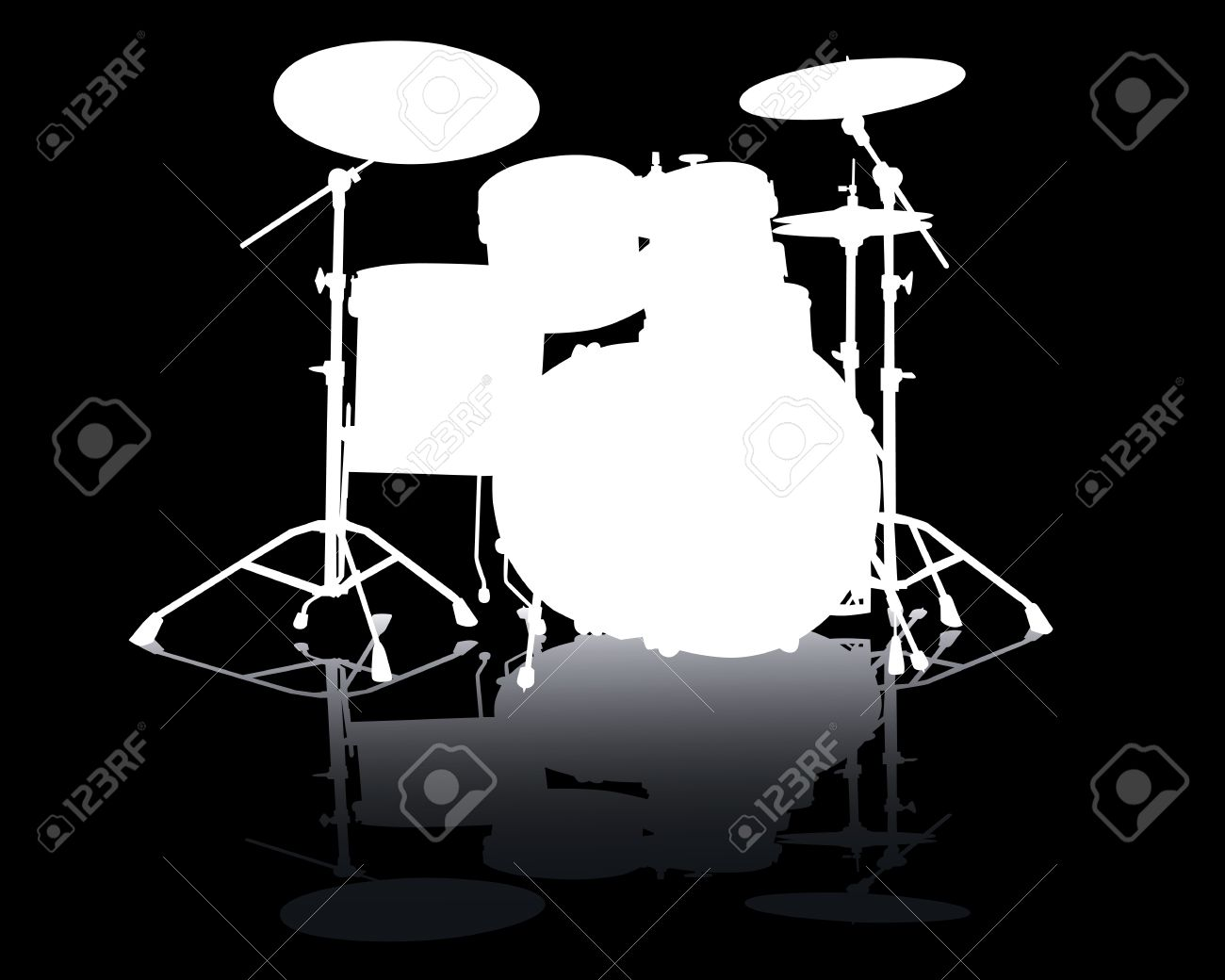 White silhouette of drum-type White Drum Set Silhouette