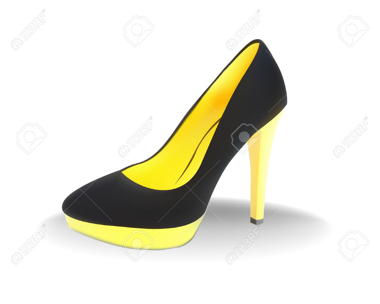 Black Female Shoes With A Yellow Heel On A White Background ...