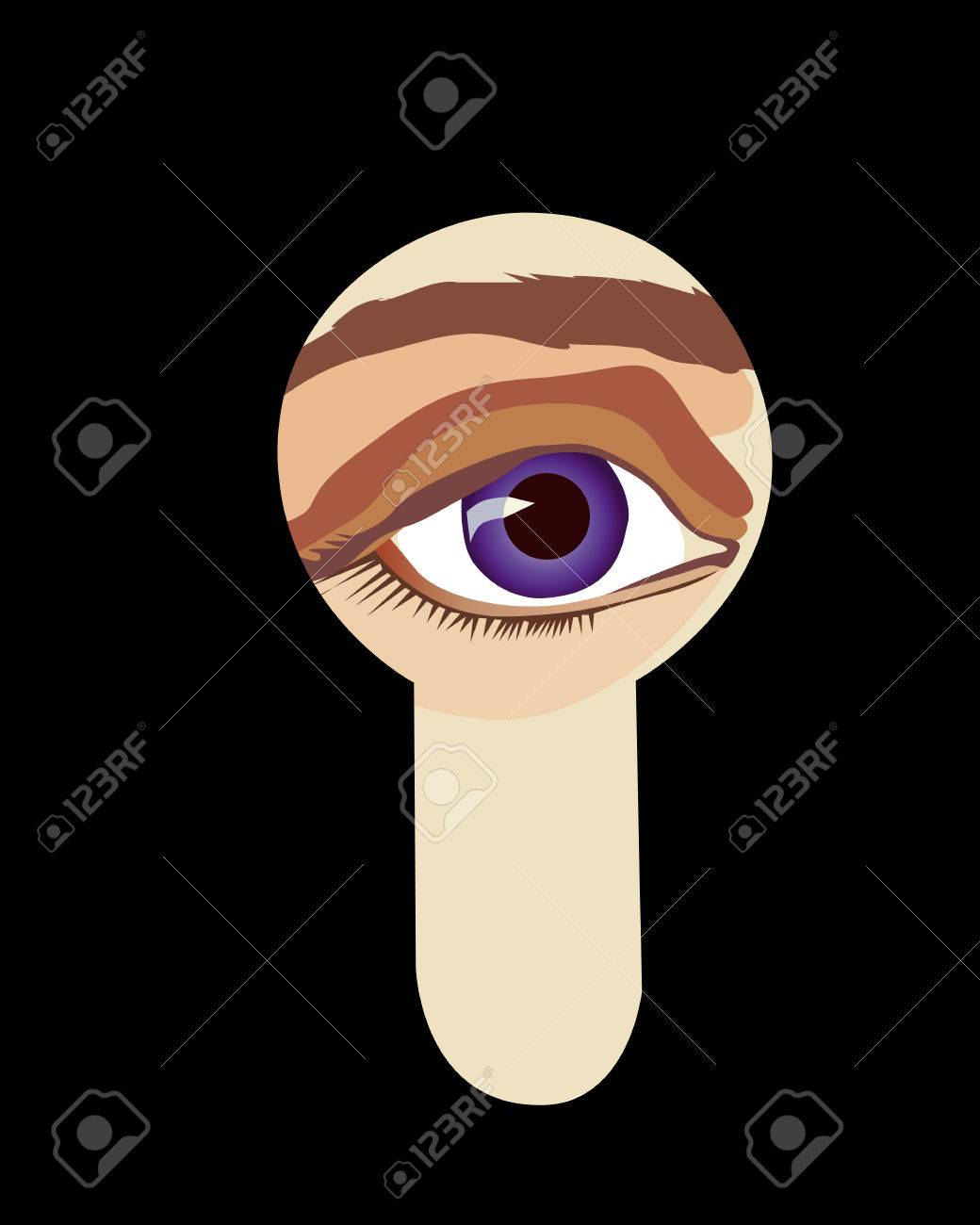 Eye Peeping through the keyhole Stock Vector - 8902180