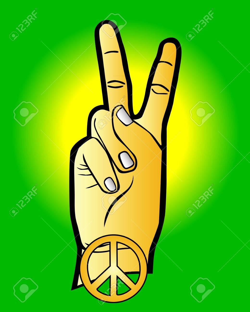 Hand As A Symbol Of Peace On A Green Background Royalty Free