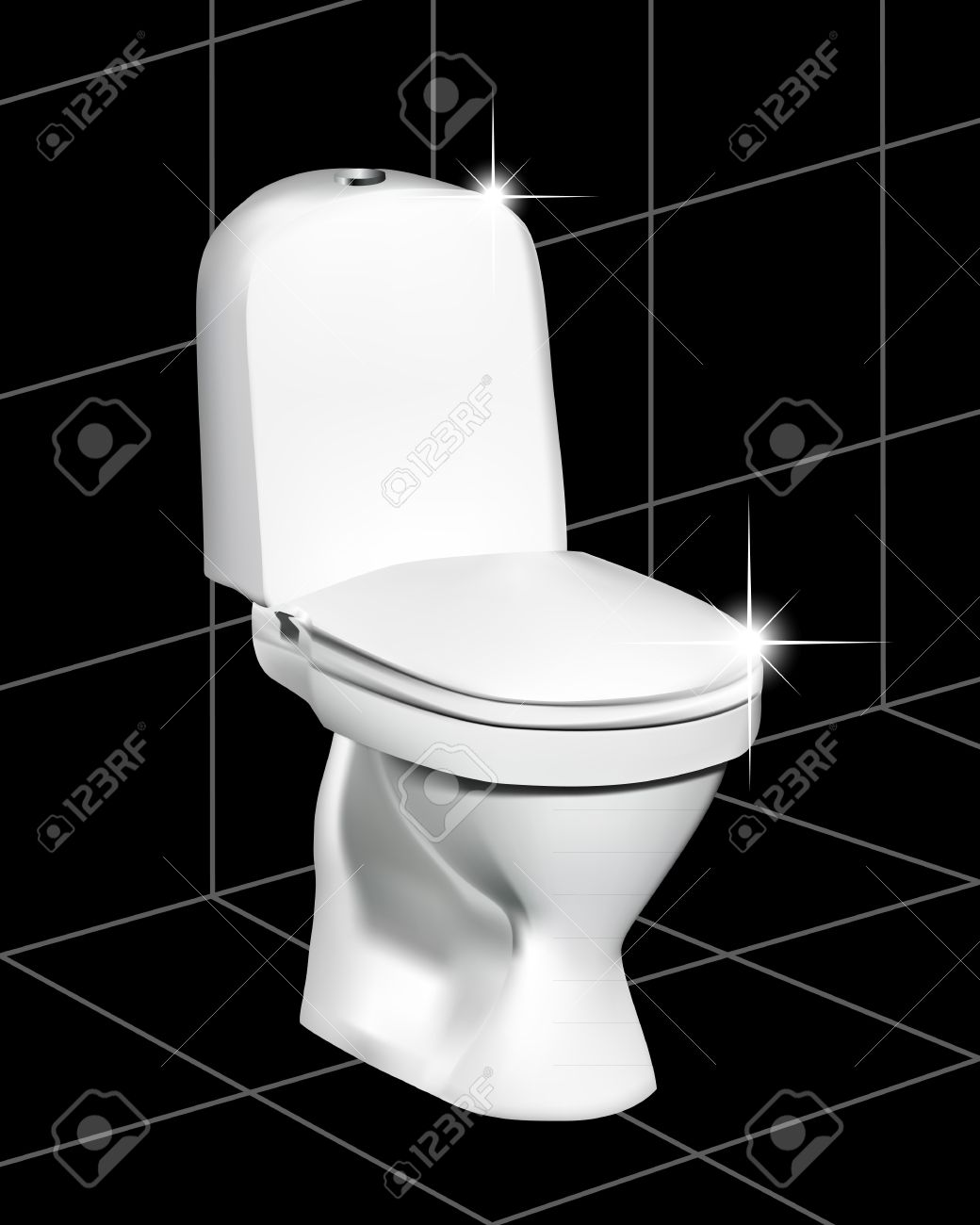 White Toilet On A Black Tile With A Gleam Royalty Free Cliparts - White toilet with black seat