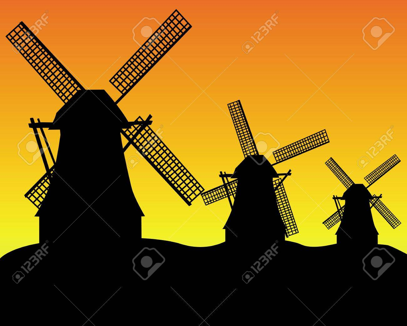 black silhouettes of three wind turbines on an orange background Stock Vector - 11787975