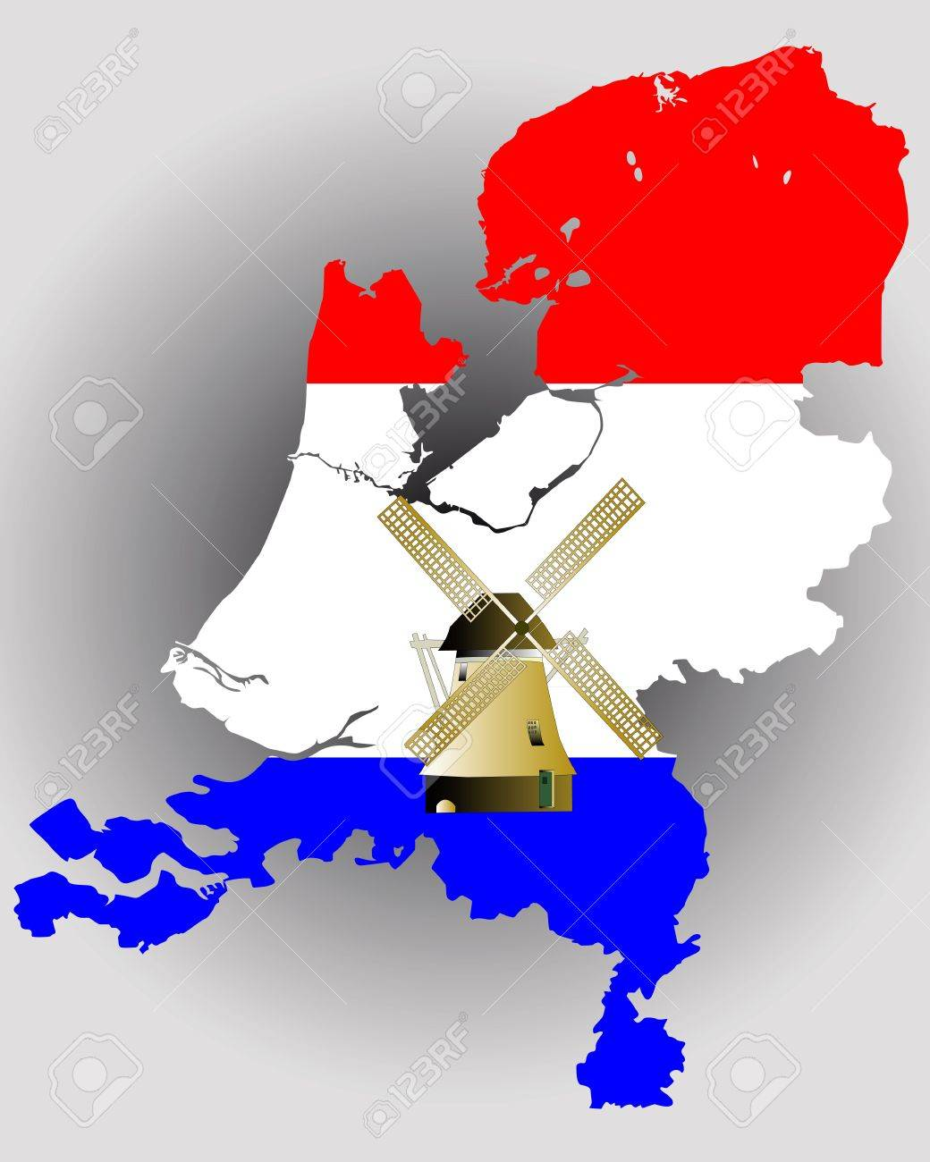 map of holland in the colors of the flag with a windmill on a