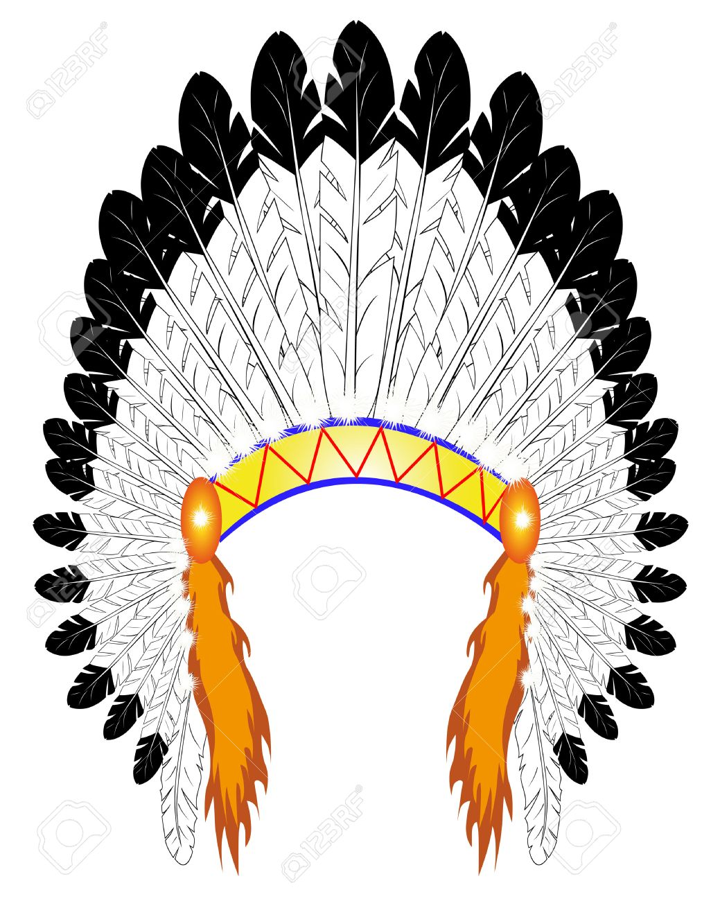 feather headdress indian chief on a white background royalty free rh 123rf com  indian headdress clipart free