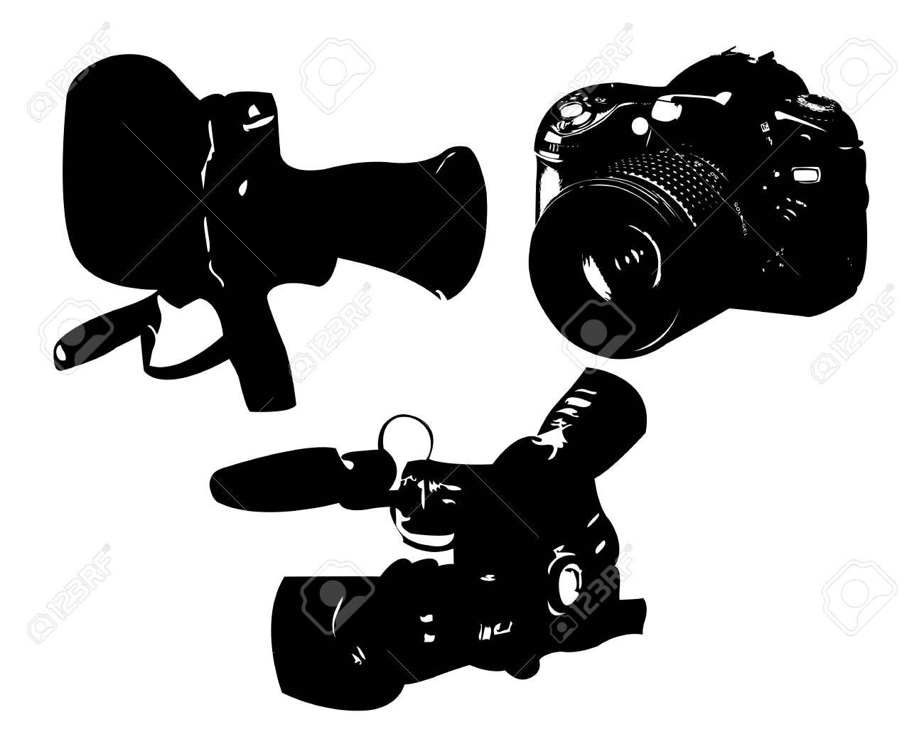 video camera and a camera on a white background Stock Vector - 20659778