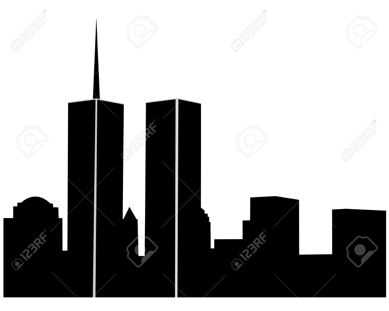 twin towers on a white background royalty free cliparts vectors rh 123rf com twin towers clip art free Twin Towers Silhouette
