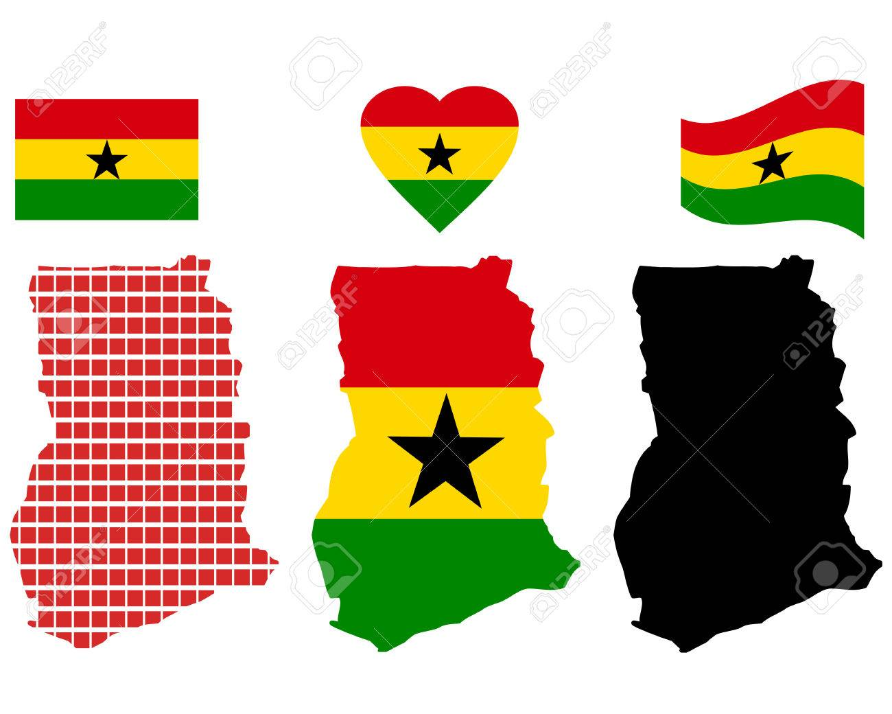 Ghana Map Different Types And Symbols On A White Background - Ghana map vector