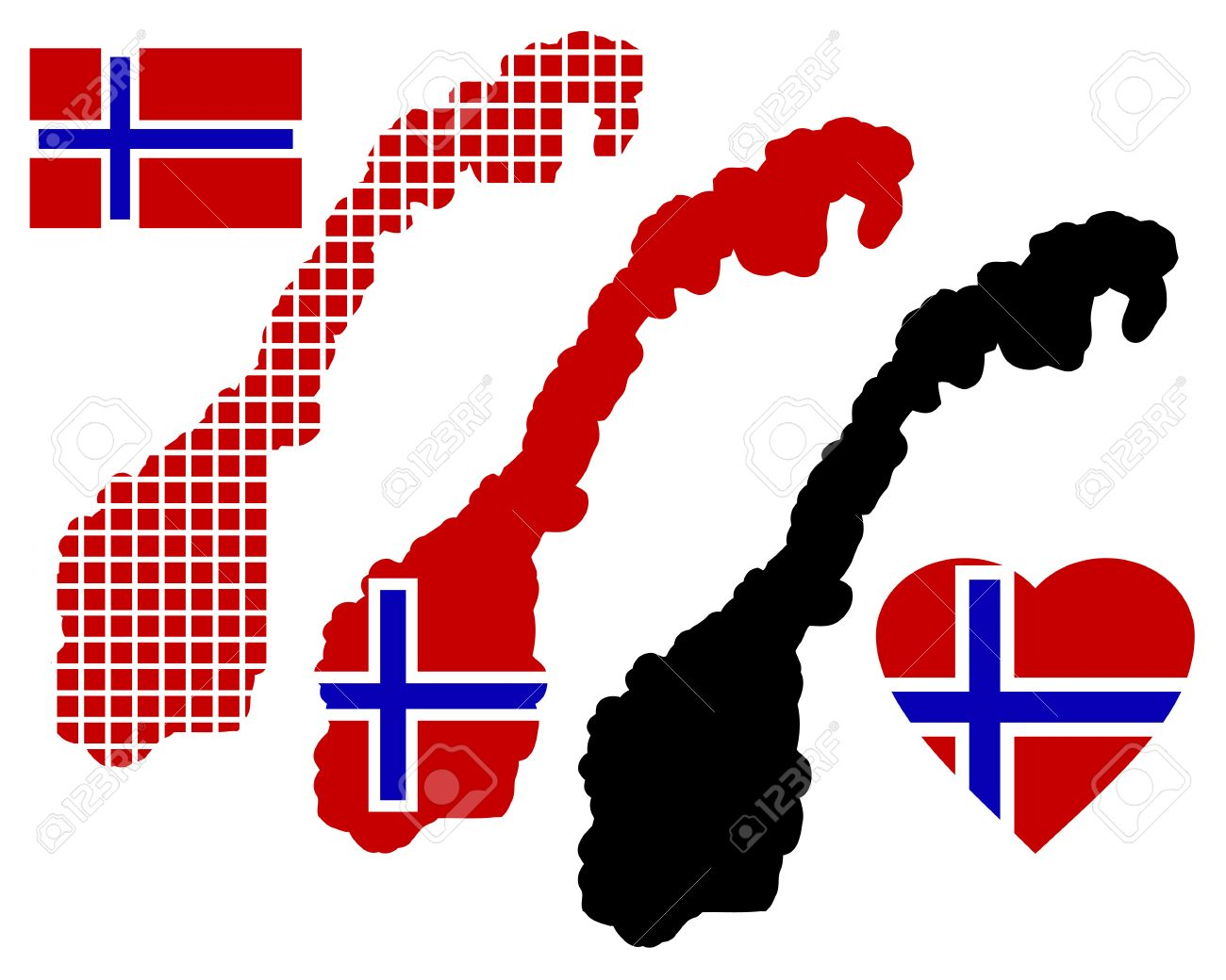 Norway Map In Different Colors And Symbols On A White Background