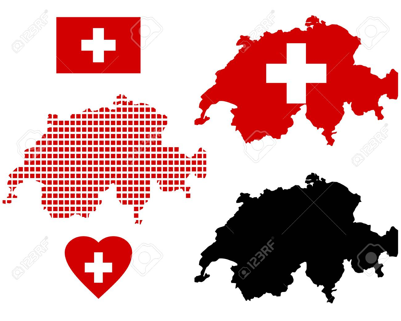 Map Of Switzerland In Different Colors And Symbols On A White
