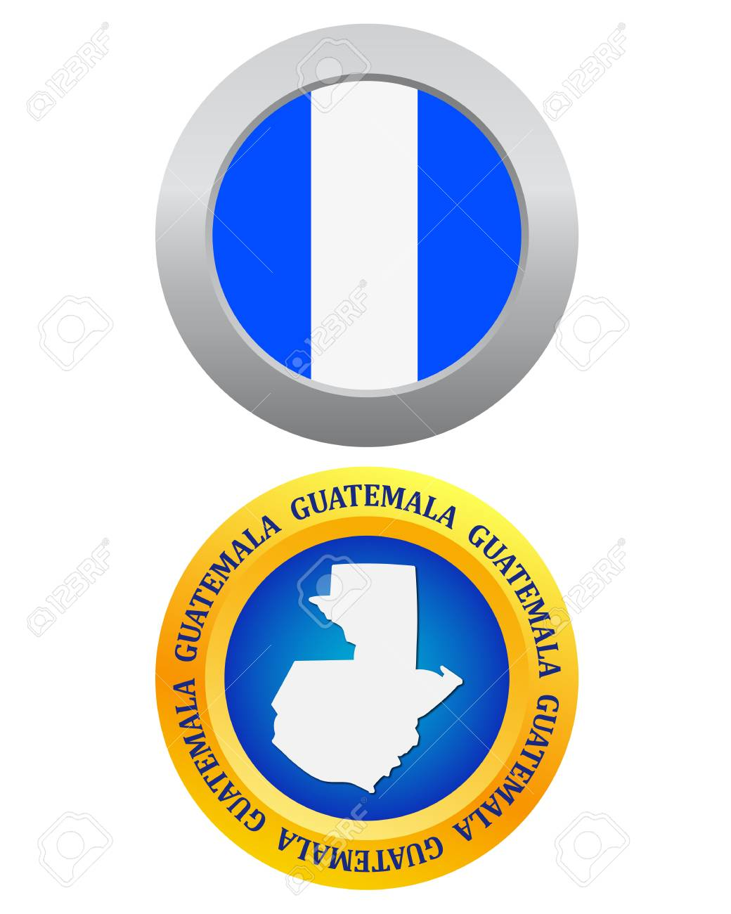 Button As A Symbol Guatemala Flag And Map On A White Background