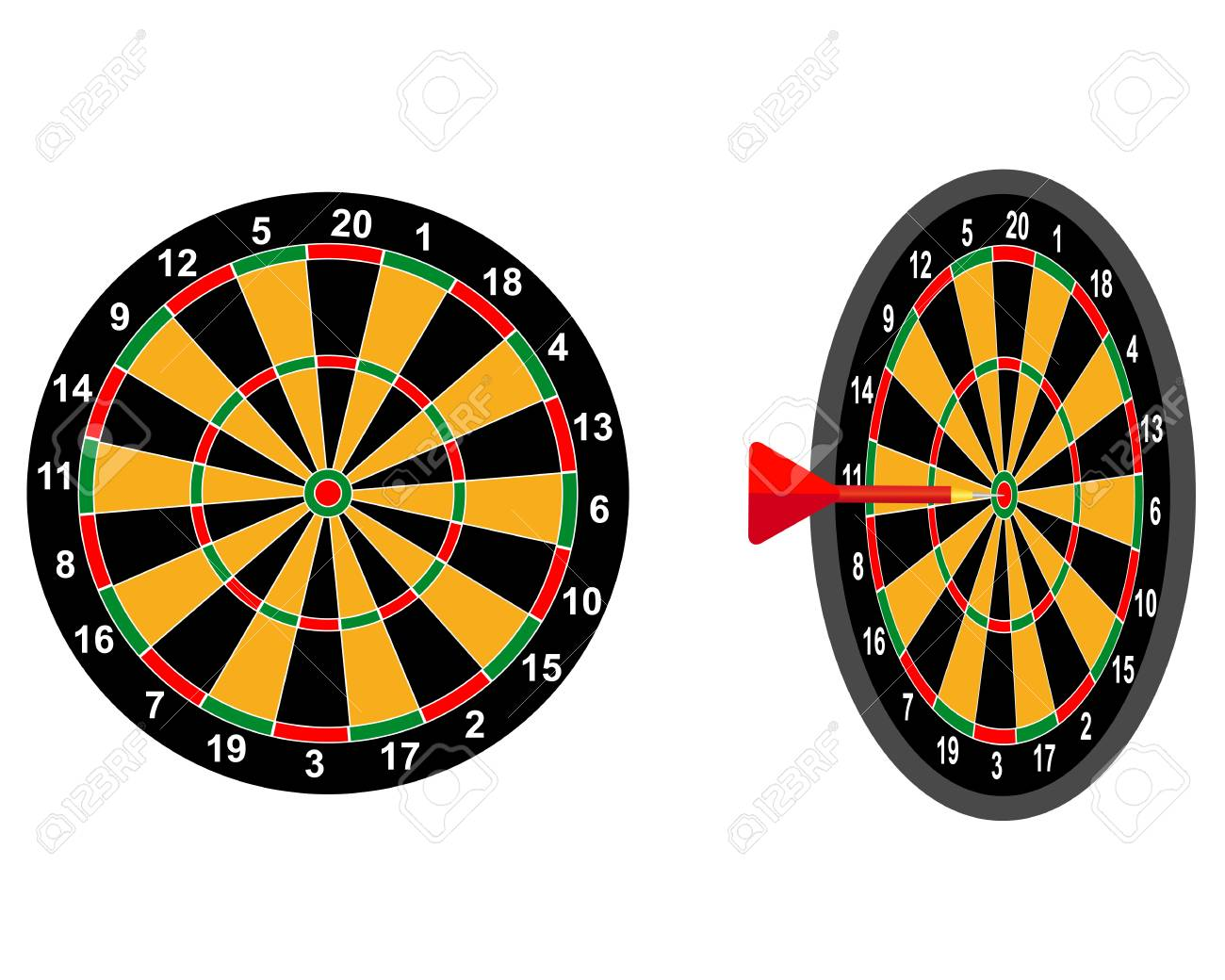 Darts Game Dart Target With Two Digits Royalty Free Cliparts