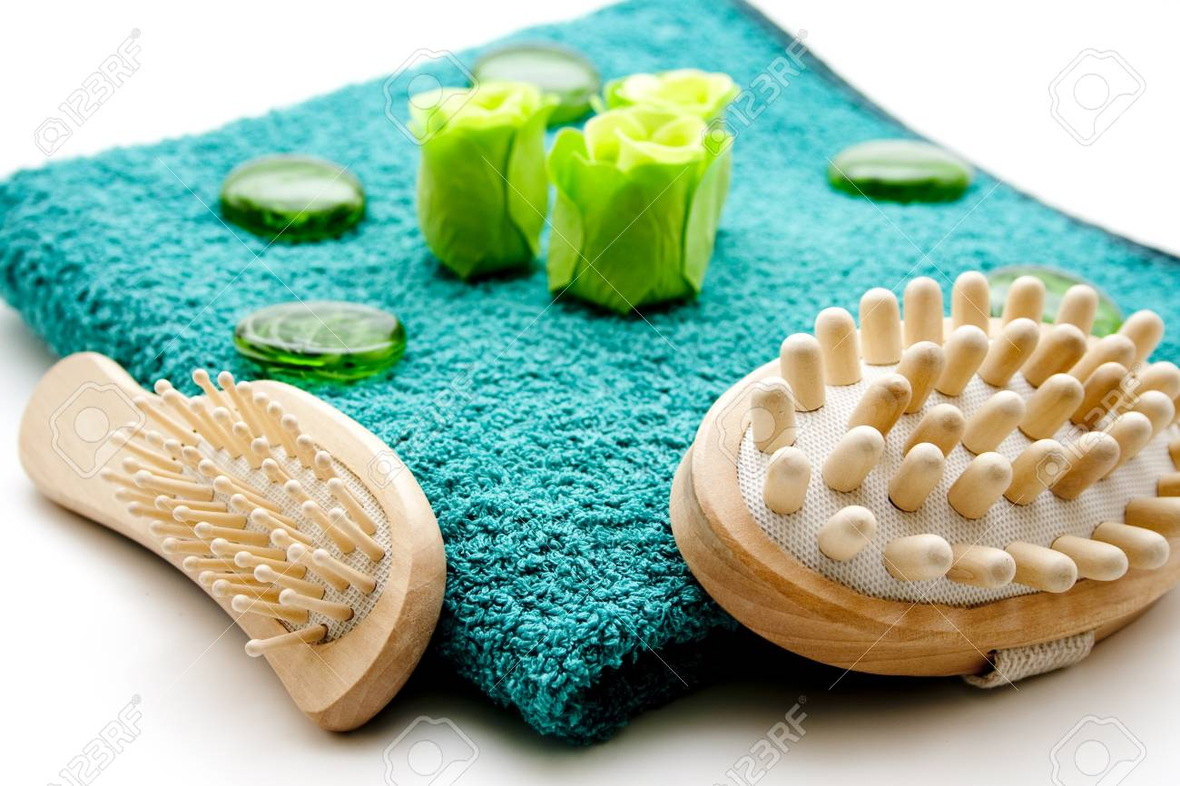 Towelling cloth with hairbrush Stock Photo - 12795562