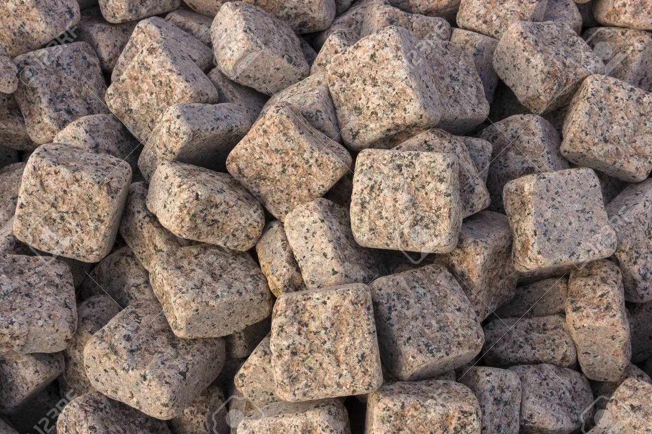 Granite Pebbles A Pattern For Use In Landscape Design Stock Photo