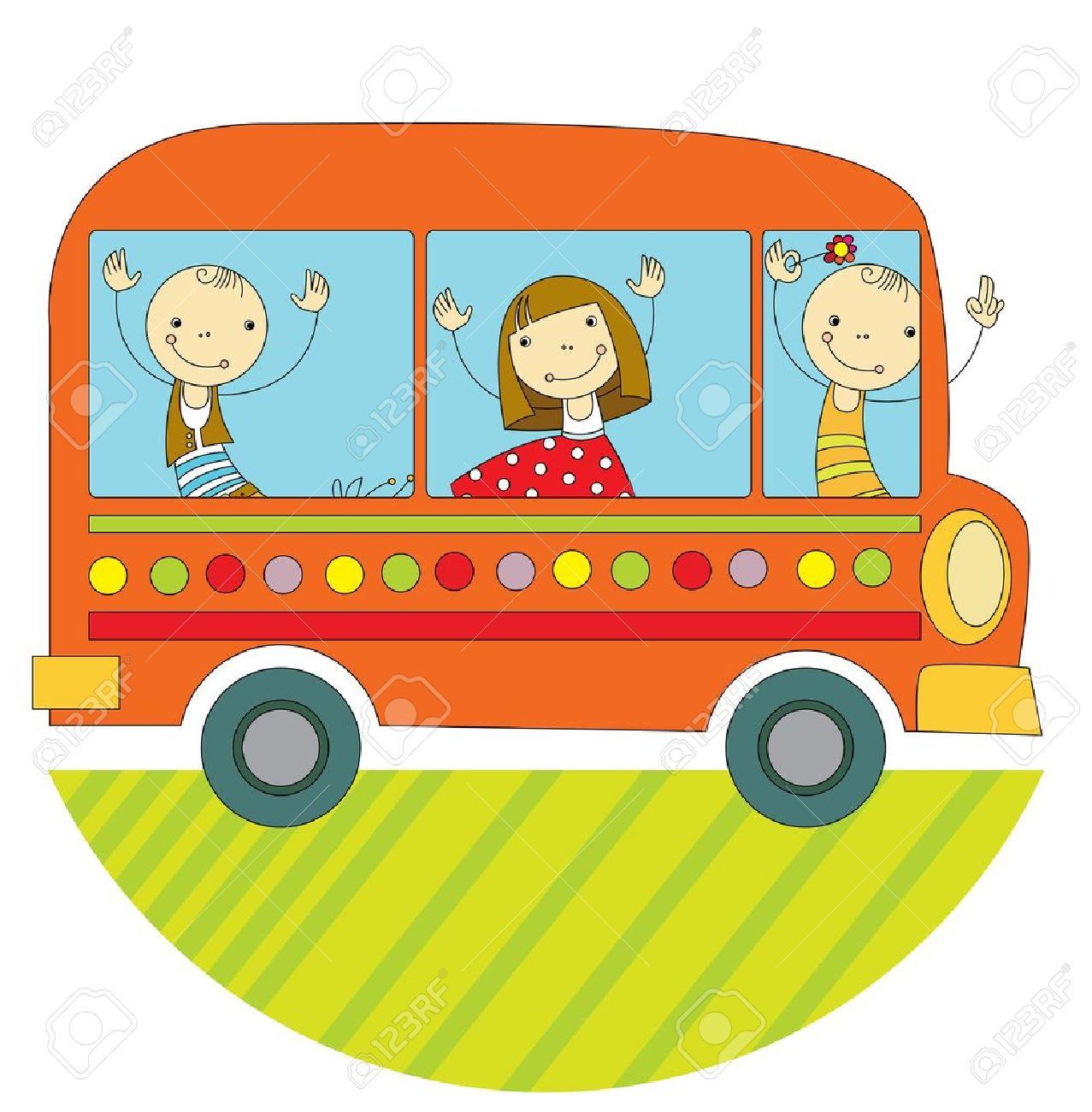 children travel by bus around the world - 21050461