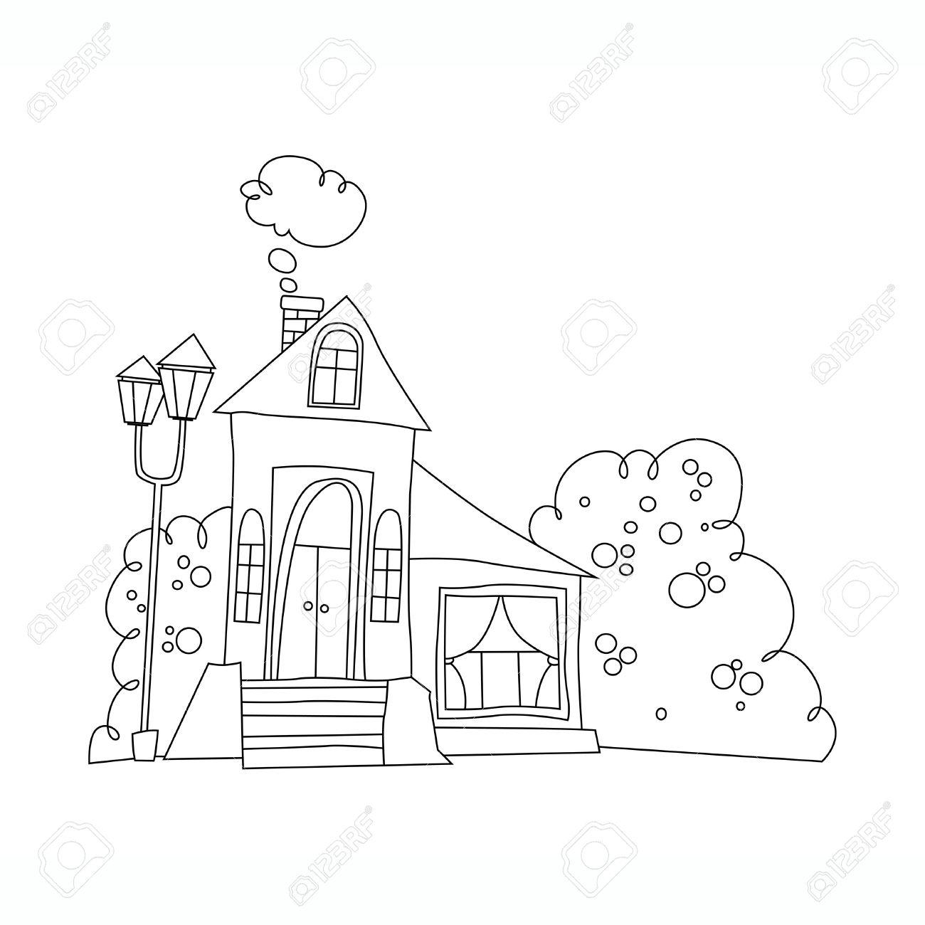 Ejemplo Blanco Y Negro De La Mansión Casa En Estilo De Dibujos