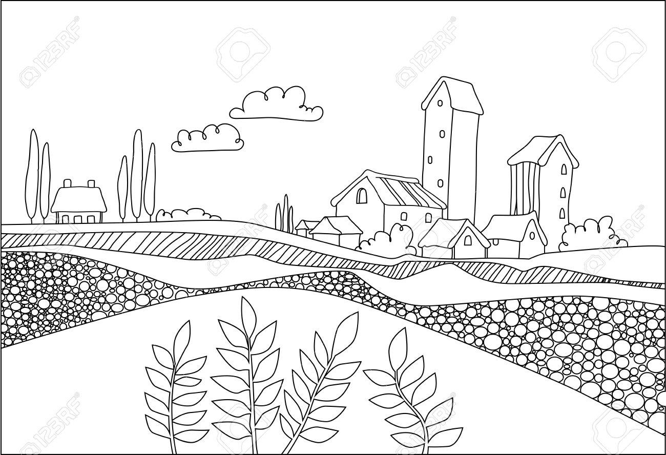 Negro Pueblo Blanco El Campo Y Las Plantas En Estilo De Dibujos
