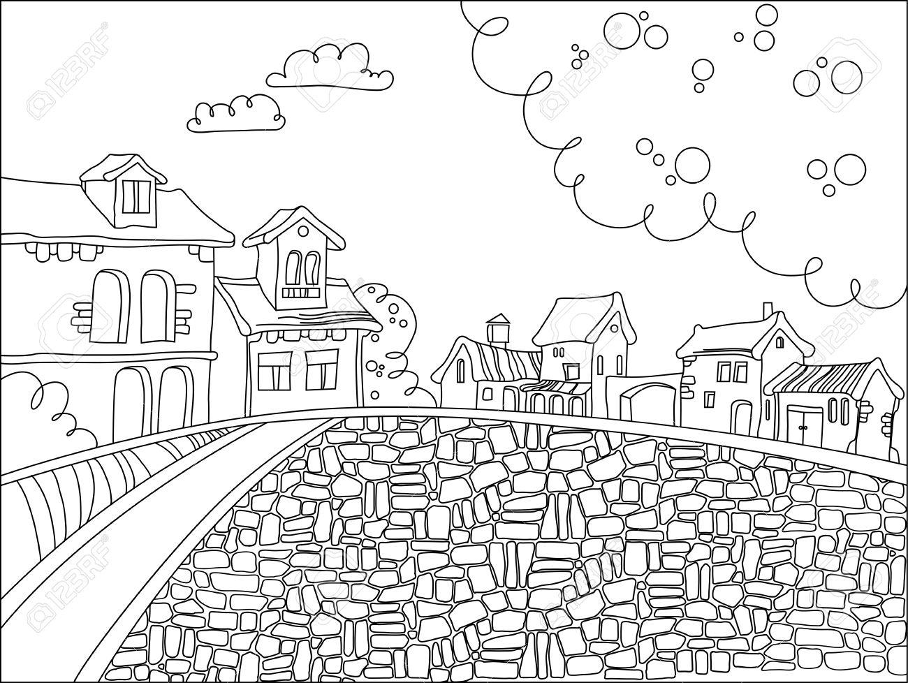 Schwarz-Weiß Stadtplatz Im Cartoon-Stil. Hand Gezeichnet Doodle ...