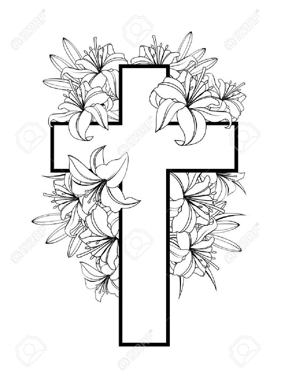 Cruz Con Lirios Blancos Símbolo Cristiano De La Pureza Y La