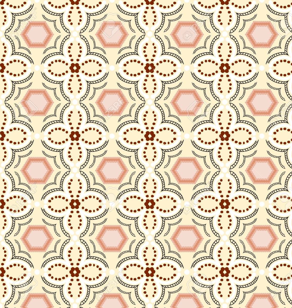 Portuguese Tile Patterns Background Flower Seamless Floral Pattern