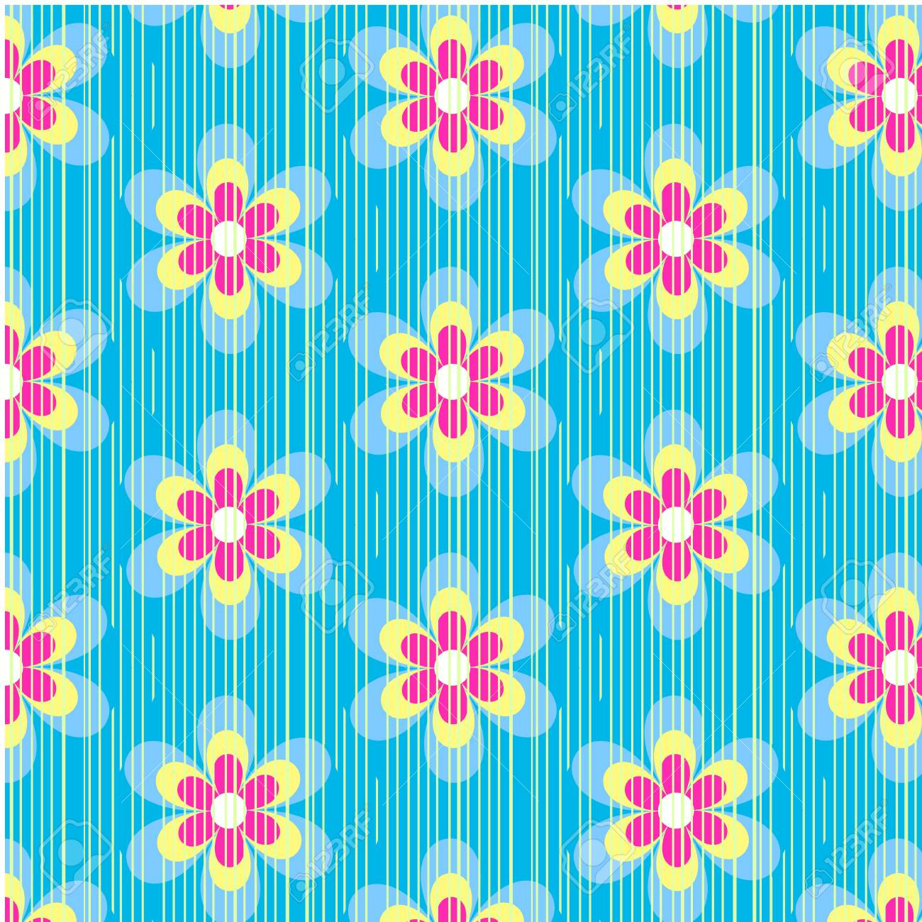 Vintage Floral Wallpaper Rose Repeat Seamless Pattern In Blue